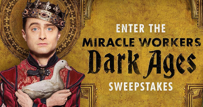 You could win a one-of-a-kind-prop worn on the set of TBS Miracle Workers: #DarkAges and aprize pack fromAll-Wise Meadery!