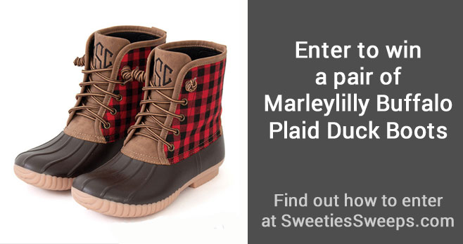 Enter for your chance to win a pair ofMarleylilly Buffalo Plaid Duck Boots for Mom & Child. You get one pair for mom and one pair for your child.