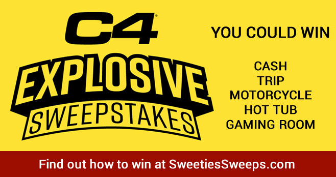 Grab your free code and play the C4 Explosive Instant Win Game for your chance to win from over 232,000 instantly prizes and be in entered to win grand prizes including a motorcycle, hot tub, home gym, trip to a spa in Arizona, TV and Game Room, scooter and even $44,444 awarded in the form of a check!