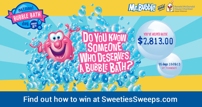 Enter to win a year's supply of Mr. Bubble bubble bath!