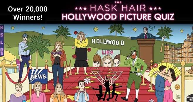 Play the Hask Hollywood Trivia game for your chance to win Amex gift cards and Hask haircare products instantly and be entered to win the $1,000 grand prize!