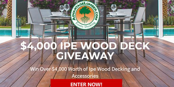 Enter for your chance to win over $4,000 Worth of Ipe Wood Decking and Accessories to build your dream deck.