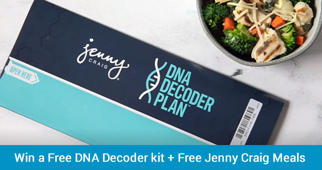 Enter to win a free DNA Decoder kit + Jenny Craig membership + 30 days of free food from Jenny Craig. Learn how your DNA could be the key to more successful Weight Loss