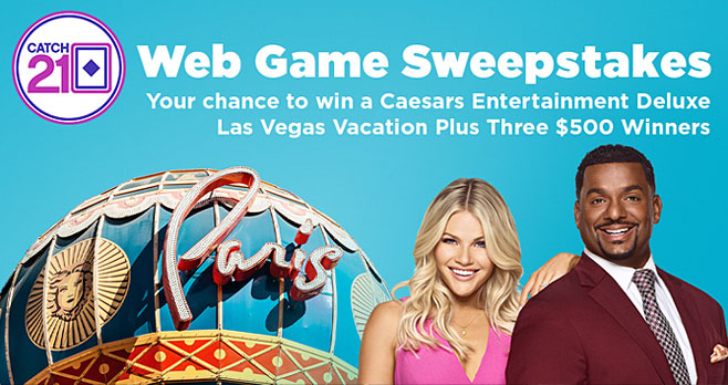 Enter the @GameShowNetwork Catch 21 Web Game Sweepstakes for your chance to win a Caesars Entertainment Deluxe Las Vegas vacation plus Three winners will each win $500!