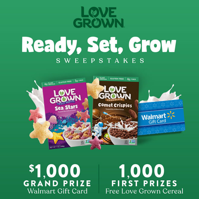 Enter for your chance to win a FREE Love Grown product plus one grand prize winner will receive a $1,000 Walmart Gift Card!
