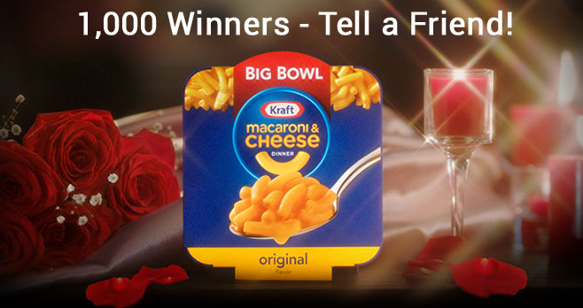 1,000 WINNERS! Enter for your chance to win the new microwaveable #KRAFT Big Bowl Macaroni & Cheese before it hits stores nationwide. Ready in 3.5 minutes with more noodles and cheese, so you can get your kids fed, get'em to bed and get it on.
