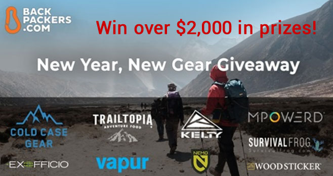 Enter for your chance to win over $2,000 in prizes! Enter with your email address and name, and earn many additional entries by sharing with your friends, following participating brands on Instagram, and completing our Backpacker Type survey! The giveaway will run from February 19 to February 26.
