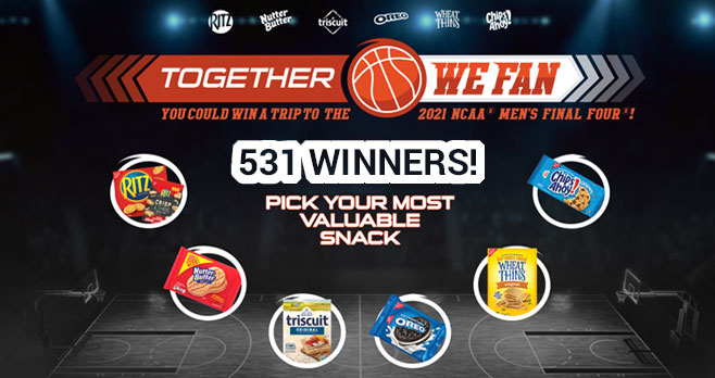 Take your shot and you could win 4 seats to the 2021 #NCAA Men's Final Four from #NABISCO #TogetherWeFan Play the instant win game for your chance to win a $25.00 gift card to buy NBA gear!