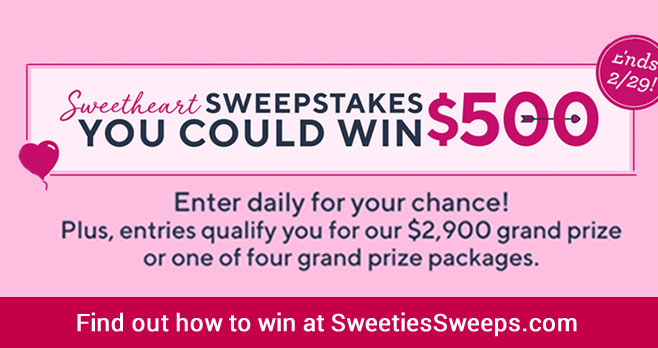 Enter the #QVC Sweethearts #Sweepstakes for your chance to win one of 29 daily cash prizes of $500 & you'll be entered to win our grand prize of $2,900 or one of four valuable grand prize packages from some of our most-loved brands.