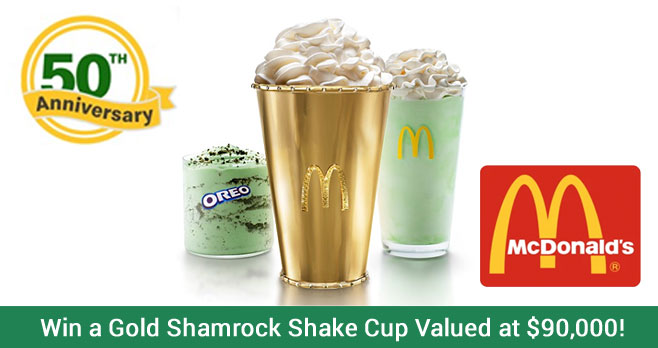 This year marks the 50th anniversary of McDonald's Shamrock Shake and in celebration they are giving you the chance to win a handcrafted Golden Shamrock Shake holder valued at $90,000! This special holder made with high polish 18-karat gold and embellished with precious stones. The holder is sized to hold a medium-sized shake.