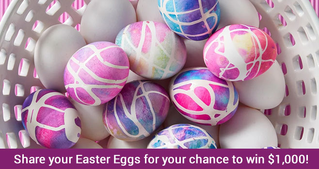 Share a photo of your Easter eggs and family with #PAASEggContest2020 for a chance to win up to $1000 in the PAAS Easter Egg 2020 Ultimate Egg-Off Contest