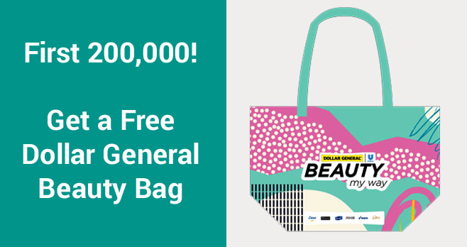 Get a FREE Dollar General Beauty Tote Bag by taking a short quiz. Take the quiz for a FREE Beauty Bag and you will also get exclusive digital coupons from Dollar General.
