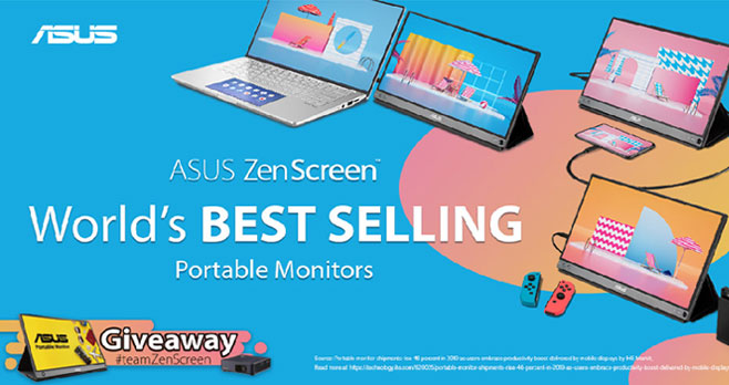 Enter for your chance to win an ASUS ZenScreen portable monitor or a ZenBeam Portable Mini Projector. The ASUS ZenScreen enables compatibility with any laptop with a USB Type-C or Type A port. The ASUS  ZenScreem Portable LED Projector features a built-in 6000mAh Battery that allows you to also use it as a Power Bank.