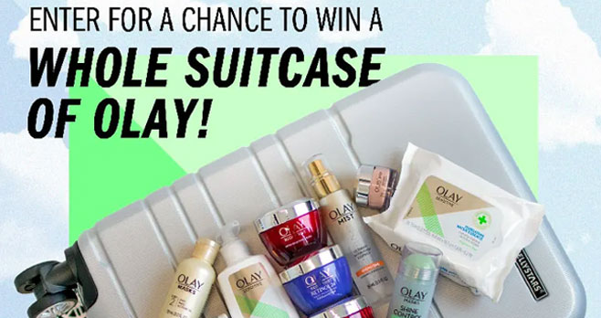 Join Club OLAY for a chance to WIN a FREE Suitcase of Skin Care! When you sign up for a Free Olay account you will also have access to Exclusive deals & promotions, News on the hottest skin care tips and trends, Early access to new arrivals, VIP access to monthly sweepstakes, and Club Olay Rewards.