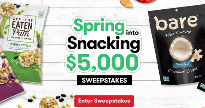 Step out of winter and into spring! Let snack time take you to your happy place. Enter now for a chance to win $5,000!