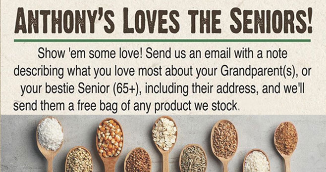 Antony's Good Foods is giving away FREE Product for Seniors (65+). Send a free bag of their products to your senior loved ones!
