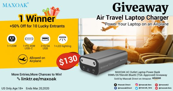 Enter for your chance to win a MAXOAK TSA-Approved Laptop Travel Power Bank. Power Your Laptop on an Airplane. Designed for Travel/Business Power Backup Purpose. You can put in your carry-on bag and take it on airplane.