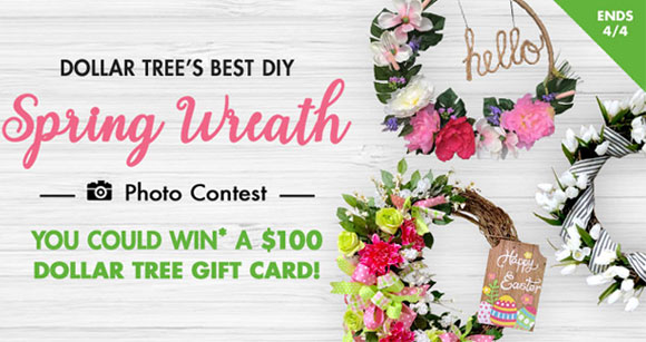 Are you a little bit crafty? Then enter Dollar Tree's Spring Wreath Contest for your chance to win a $100 Dollar Tree shopping spree.