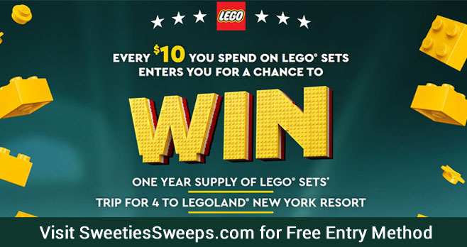 Enter for your chance to win a year's supply of LEGO sets, a trip for 4 to Legoland New York Resort or $500 work of LEGO sets each week when you enter the Lego Masters Sweepstakes.