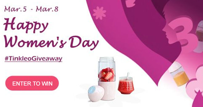 Enter for your chance to win a Tinkleo Mini Juicer Blender Bottle when you enter their #WomensDay giveaway. The fully automatic Mini Juicer is great for Home, Travel and is also USB Rechargeable