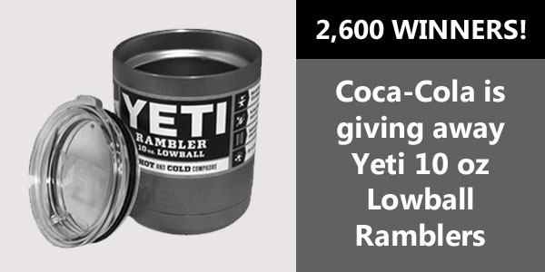 Play the new Coca Cola instant win game for your chance to win one of 2,600 #Yeti 10 oz Lowball Ramblers! You can play up to five times each day for your chance to win.