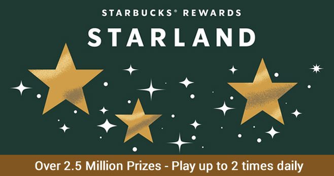 Play the Starbucks Rewards Starland Instant Win Game 2 times daily for your chance to win from over 2.5 million prizes. Catch Stars and wish on Raffles for the chance to win dreamy prizes. Sign in to your Starbucks Rewards account to play.