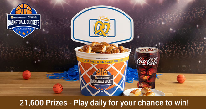 Play the Coca-Cola Auntie Anne's Basketball Buckets Challenge Instant Win Game daily for your chance to win great prizes from Doordash and free Auntie Anne's Original or Cinnamon Sugar Pretzels and beverages.