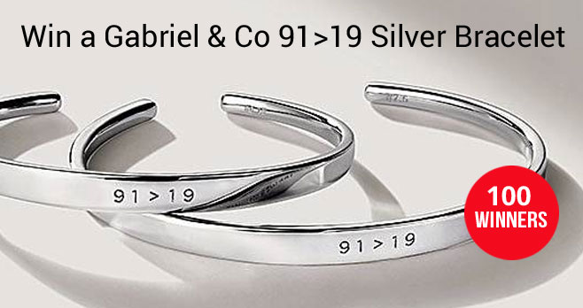 Enter for your chance to win a 91>19 silver bracelet from Gabriel & Co. #91greaterthan19 In light of the Covid-19 pandemic, Gabriel & Co. created this powerful bracelet as a sign of faith, strength and positivity. It's called 91 greater than 19 with a nod to Psalm 91- no harm shall overcome you. 100% of the proceeds will go to Jewelers for Children, a non-profit children's focused charity.