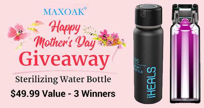 Enter for your chance to win a MAXOAK iHEALS Deep UVC 18.3oz Sterilizing Water Bottle. Durable & BPA FREE & 100% non-toxic, this Sports Water Bottles is made of high quality food grade double layer 304 Stainless Steel.