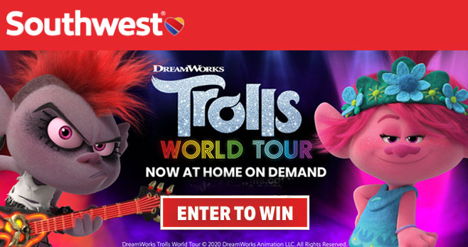 Trolls World Tour is now playing and Southwest Airlines is giving you the chance to win a trip for two to any one of the six (6) different DreamWorks Trolls World Tour inspired Southwest destinations + a  $500 Visa gift card and DreamWorks Trolls World Tour t-shirt!