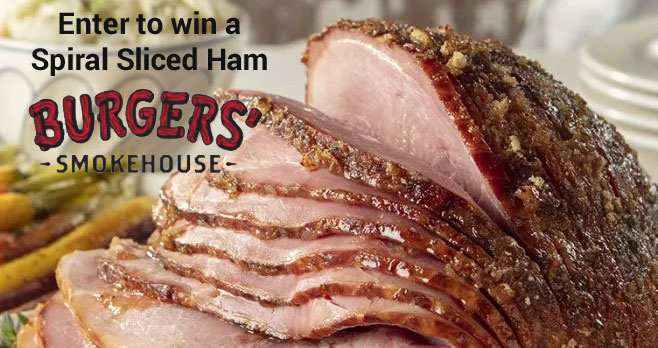 Enter for your chance to win a Fully Cooked Spiral Sliced Ham from Burgers' Smokehouse. This Hickory Smoked City Ham is a sweet honey ham that's been slow-smoked over real hickory wood chips, plus these hams are spiral sliced to make serving extra convenient.