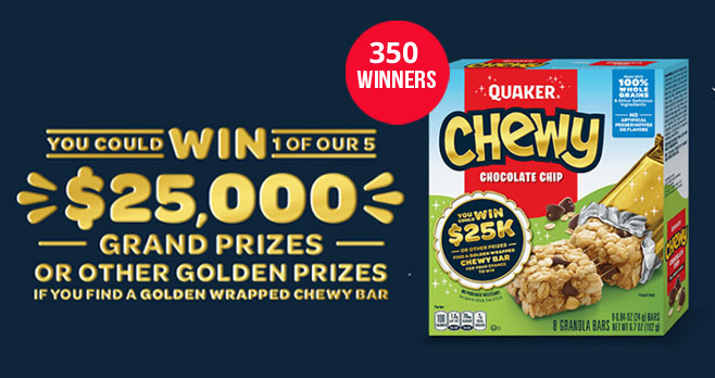 Play the Quaker Chewy Golden Wrapper Instant Win Game for your chance to win