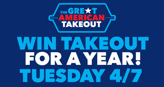 One April 7th enter for your chance to win takeout for a year! #thegreatamericantakeout #Shift4Sweepstakes