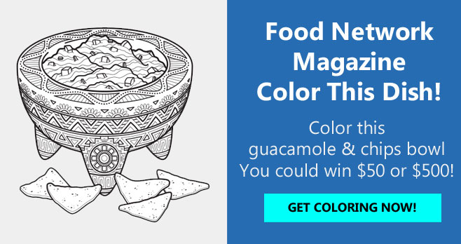 Color the Food Network guacamole and chips coloring page for your chance to win up to $500!The grand prize winner will receive $500 and three runners-up will each receive a $50.