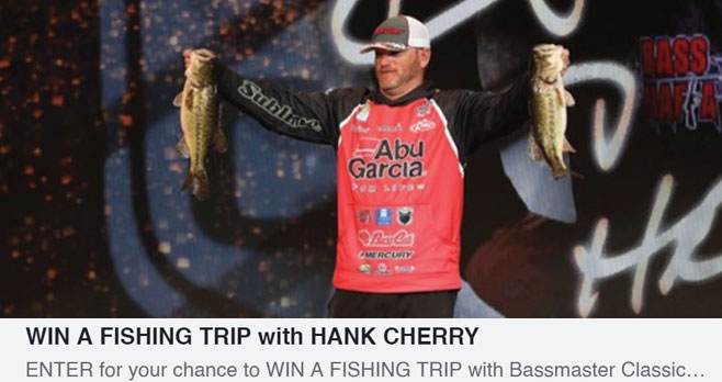 Enter for your chance to win a fishing trip with Bassmaster Classic Winner Hank Cherry! This is your chance to get out on the water with a pro. Plus Realtime Outdoors Network is sending you geared up with the Ultimate JB Langley technical apparel and bass mafia tackle!