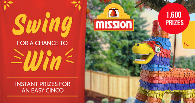 Play the Mission Foods Time to Cinco Instant Win Game 10 times daily for your chance to win gift cards from Amazon, Visa, Uber, and Spotify!
