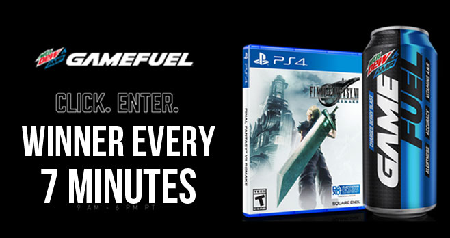 Winner every 7 Minutes! Play the Mtn Dew Amp Game Fuel Instant Win Game up to five times daily for your chance to win great prizes!