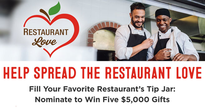 Nominate your favorite restaurant to win $5,000 - Five featured restaurants will be randomly selected to receive $5,000 from Bob's Red Mill. Tell us about your favorite restaurant. Stories about the best dish on the menu. A great memory. Whatever makes it special, and makes it your favorite.