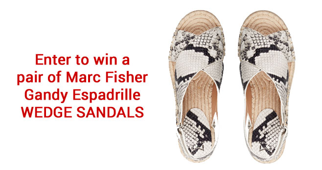 Enter for your chance to win a pair ofMarc Fisher Gandy Espadrille Wedge Sandals.