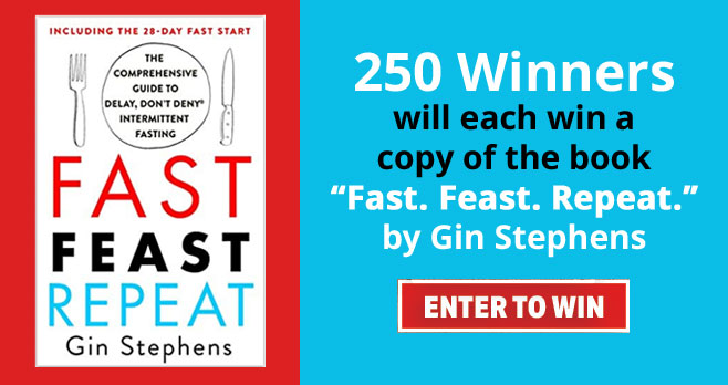 """Enter for your chance to win a copy the book titled """"Fast.Feast.Repeat."""" by Gin Stephens."""