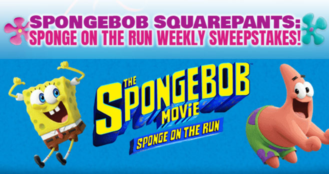 Enter the SpongeBob SquarePants Sponge on the Run Sweepstakes daily for your chance to win a Spongetastic summer prize pack.