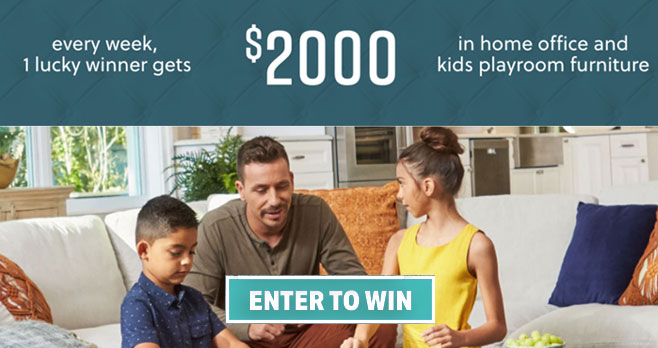 Enter the Ashley HomeStores Home Together Giveaway once a week. Every week, 1 lucky grand prize winner will receive $2,000 in home office and kids playroom furniture. Make home everything you need during this time.