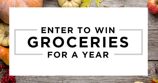Enter for your chance to win BIG on your next shopping trip with Free groceries for a year!