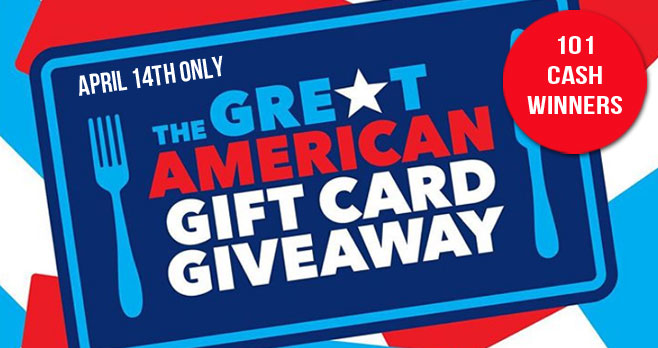 On April 14th it's the #TheGreatAmericanTakeout giveaway where you can win $50 to $5,000 in cash!