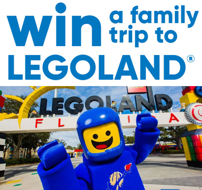 Enter for your chance to win a trip for 4 to LEGOLAND Resort in California, Florida, or New York.
