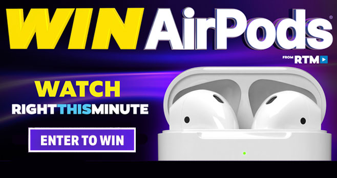 RightThisMinute is giving away one pair of AirPods away to lucky winners every weekday from April 23 through May 20. Enter every weekday for your chance to win. Note: You must include the correct buzzword to get a valid entry. Get today's Buzzword