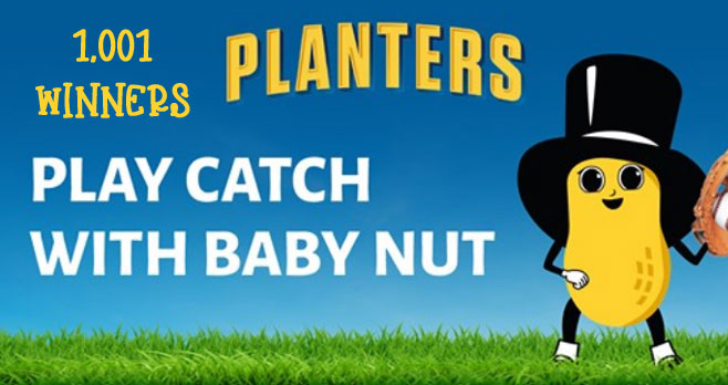 You could win the essentials for a great day of playing catch including water bottles, baseball caps, and blankets. Plus, the $7,500 grand prize for family fun this summer.Planters Baby Nut is just learning how to play catch. Can you help teach him? Get out there & have some fun!