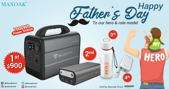 Enter for your chance to win a MAXOAK AC100 Power Station, AC10 Power Bank, DUV-C Water Bottle, or a DUV Toothbrush Sanitizer when you enter their Father's Day giveaway. There will be 6 winners in all.