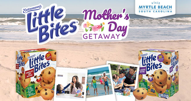 Happy Mother's Day from Entenmann's Little Bites snacks. Enter for your chance to win a trip for 4 to Myrtle Beach, South Carolina, with a shopping spree for mom.