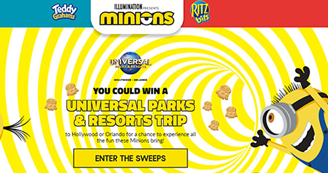 Play the Nabisco Minions Instant Win Game daily and you could win a Universal Parks & Resorts trip to Hollywood or Orlando for a chance to experience all the fun these Minions bring or one of 130 instant win game prizes.